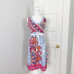 Desigual Paisley Embroidered Dress Blue Pink